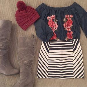 H&M Striped Tight Structured Mini Skirt